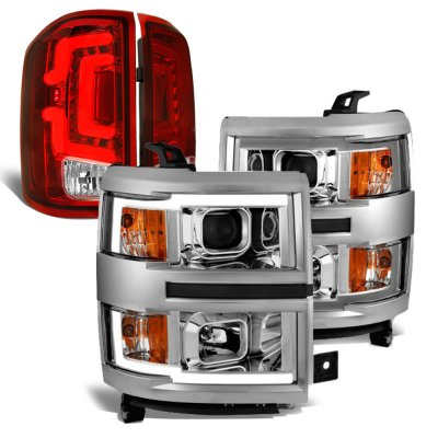 Chevy Silverado 1500 2014-2015 DRL Projector Headlights Custom LED Tail Lights