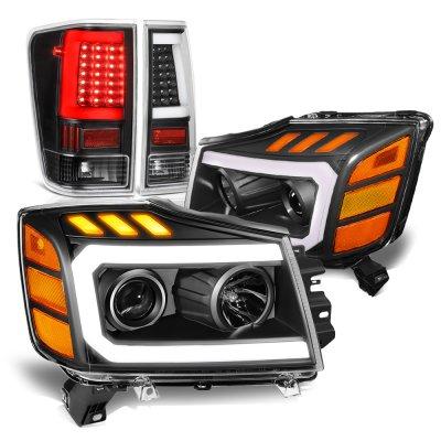Nissan Titan 2004-2015 Black DRL Projector Headlights LED Tail Lights