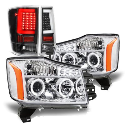 Nissan Titan 2004-2015 Halo Projector Headlights Black LED Tail Lights
