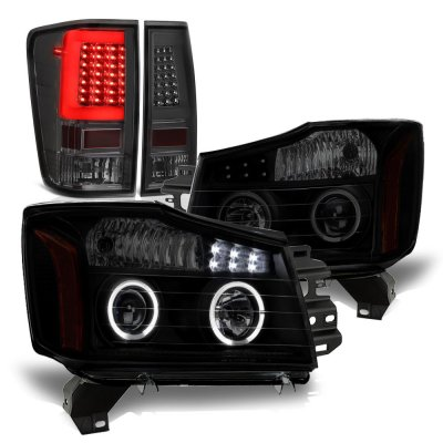 Nissan Titan 2004-2015 Black Smoked Halo Projector Headlights Tinted LED Tail Lights