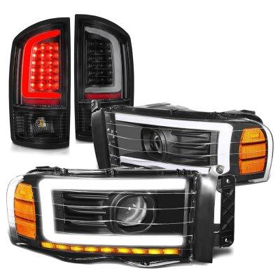 Dodge Ram 2002-2005 Black LED DRL Projector Headlights Tail Lights