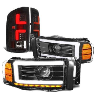 Dodge Ram 2002-2005 Black DRL Projector Headlights Custom LED Tail Lights