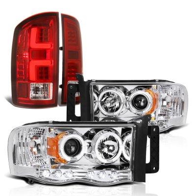 Dodge Ram 2002-2005 Halo Projector Headlights Custom LED Tail Lights