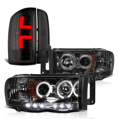 Dodge Ram 2002-2005 Smoked Halo Projector Headlights Custom LED Tail Lights
