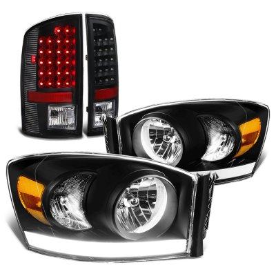 2006 Dodge Ram Black Tube DRL Headlights LED Tail Lights
