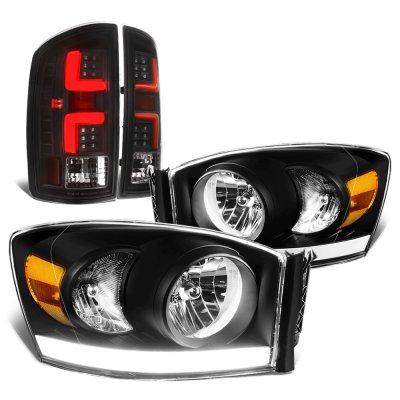 2006 Dodge Ram Black Tube DRL Headlights Custom LED Tail Lights