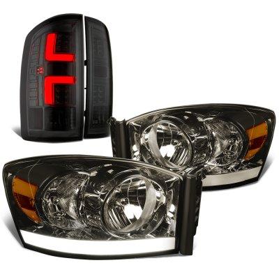 2006 Dodge Ram Smoked Tube DRL Headlights Custom LED Tail Lights