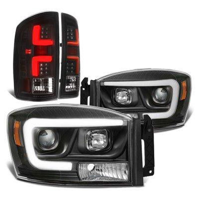 2006 Dodge Ram Black DRL Projector Headlights Custom LED Tail Lights