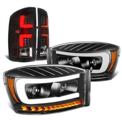 2006 Dodge Ram Black DRL Projector Headlights Dynamic Signals Custom LED Tail Lights