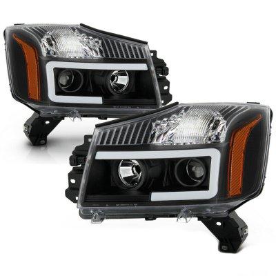 Nissan Titan 2004-2015 Black Projector Headlights Tube