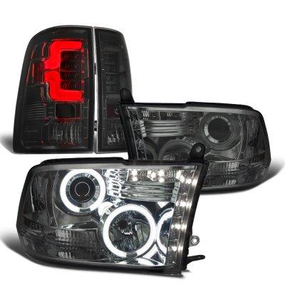 Dodge Ram 2009-2018 Smoked Halo Projector Headlights Custom LED Tail Lights