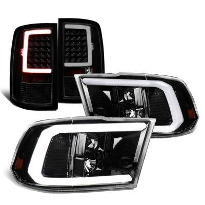 Dodge Ram 2009-2018 Black Smoked Tube DRL Projector Headlights LED Tail Lights