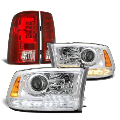 Dodge Ram 2009-2018 Premium DRL Projector Headlights Custom LED Tail Lights