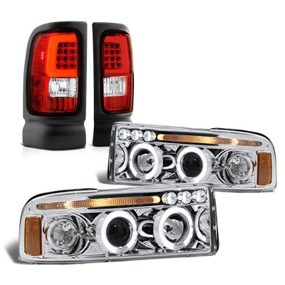 Dodge Ram 1994-2001 Halo Projector Headlights Tube LED Tail Lights