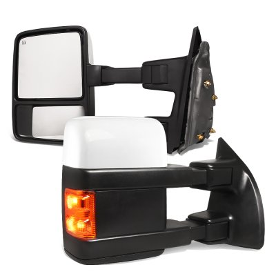 Ford F550 Super Duty 2003-2007 White Towing Mirrors Power Heated Signal Lights