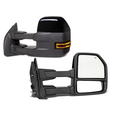 Ford F250 Super Duty 2017-2021 Glossy Black Power Heated Towing Mirrors Smoked LED Lights