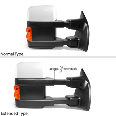 Ford F550 Super Duty 2008-2016 White Towing Mirrors Power Heated Signal Lights