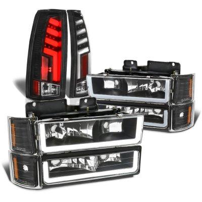 Chevy Silverado 1994-1998 Black DRL Headlights Set Custom Tube LED Tail Lights
