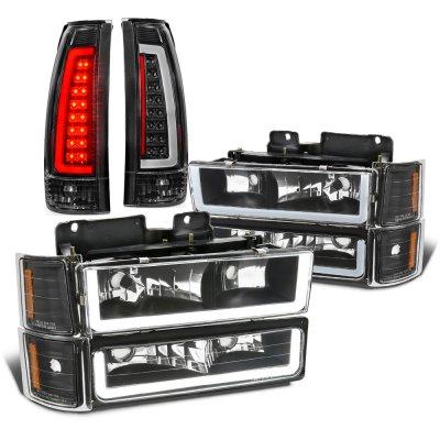 Chevy Silverado 1994-1998 Black LED DRL Headlights Tail Lights