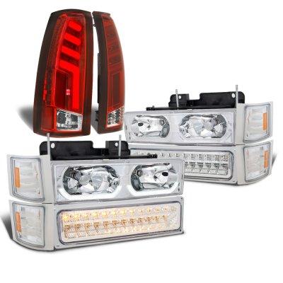 Chevy Silverado 1994-1998 LED DRL Headlights Set Custom Tube LED Tail Lights