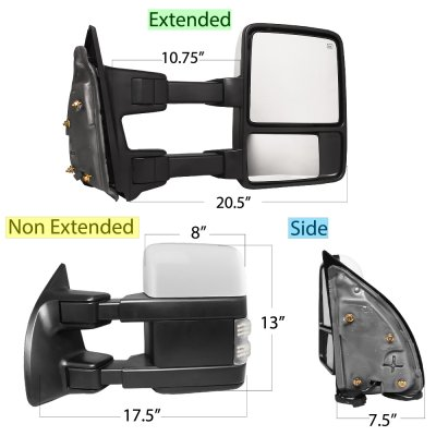 Ford F550 Super Duty 2003-2007 White Tow Mirrors Switchback LED Sequential Signal