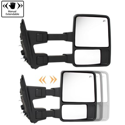 Ford F550 Super Duty 2008-2016 Glossy Black Tow Mirrors Smoked Switchback LED Sequential Signal
