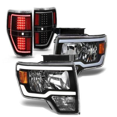 Ford F150 2009-2014 Black LED DRL Headlights Tail Lights