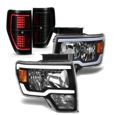 Ford F150 2009-2014 Black LED DRL Headlights Tinted Tail Lights