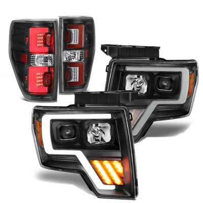 Ford F150 2009-2014 Black DRL Projector Headlights Tube LED Tail Lights