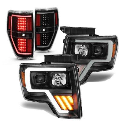 Ford F150 2009-2014 Black LED DRL Projector Headlights Tail Lights