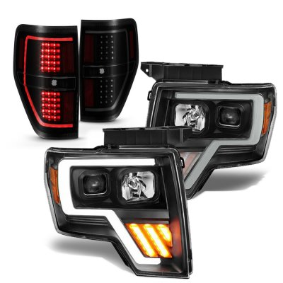Ford F150 2009-2014 Black LED DRL Projector Headlights Tinted Tail Lights