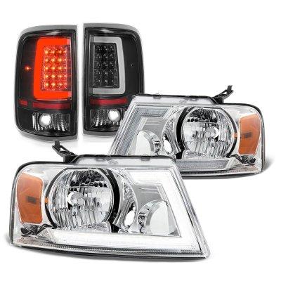 Ford F150 2004-2008 Switchback LED DRL Headlights Black Tail Lights