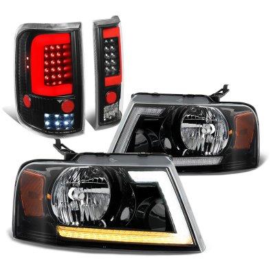 Ford F150 2004-2008 Black Switchback DRL Headlights Full LED Tail Lights