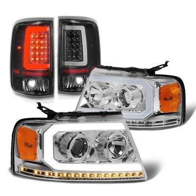 Ford F150 2004-2008 DRL Projector Headlights LED Signals Black Tail Lights