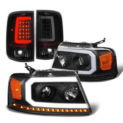 Ford F150 2004-2008 Black DRL Projector Headlights LED Signals Tinted Tail Lights