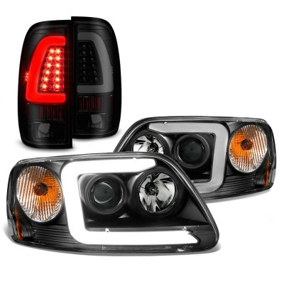 Ford F150 1997-2003 Black LED DRL Projector Headlights Tinted Tail Lights