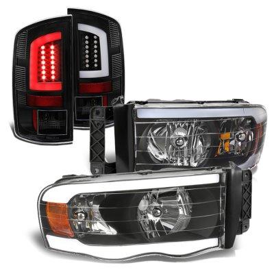 Dodge Ram 2002-2005 Black DRL Headlights Tube LED Tail Lights