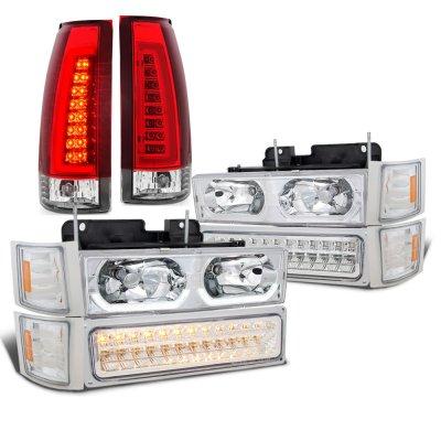 Chevy Silverado 1994-1998 LED DRL Headlights Bumper Lights Tail Lights