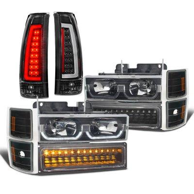 Chevy Silverado 1994-1998 Black LED DRL Headlights Bumper Lights Tail Lights