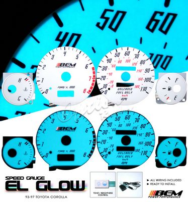 Toyota Corolla 1993-1997 Glow Gauge Cluster Face Kit