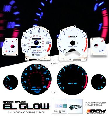 Honda Accord 1994-1997 Reverse Glow Gauge Cluster Face Kit