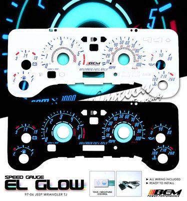 Jeep Wrangler TJ 1997-2006 Reverse Glow Gauge Cluster Face Kit