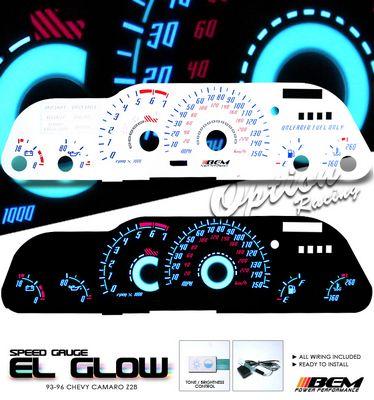 Chevy Camaro 1993-1996 Reverse Glow Gauge Cluster Face Kit