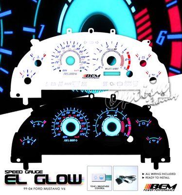 Ford Mustang V6 1999-2004 Reverse Glow Gauge Cluster Face Kit