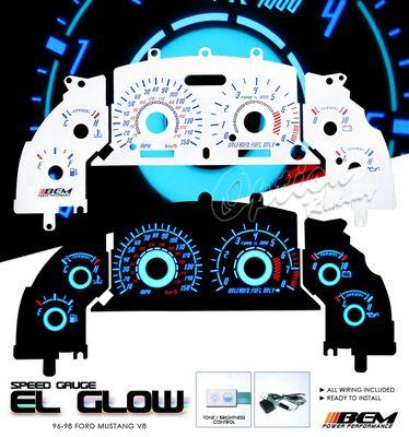 Ford Mustang V8 1996-1998 Glow Gauge Cluster Face Kit