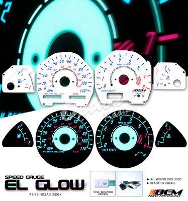 Nissan 240SX 1991-1995 Reverse Glow Gauge Cluster Face Kit