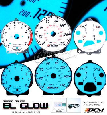 Honda Accord 1990-1993 Glow Gauge Cluster Face Kit