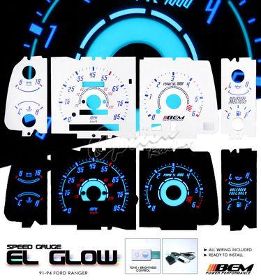 Ford Ranger 1991-1994 Reverse Glow Gauge Cluster Face Kit