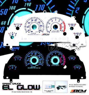 Ford Mustang V8 1999-2004 Reverse Glow Gauge Cluster Face Kit