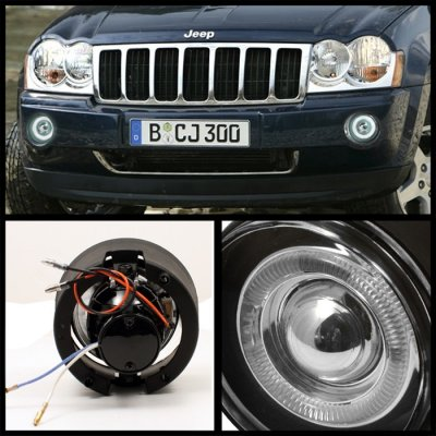Jeep Commander 2006 2008 Smoked Halo Projector Fog Lights